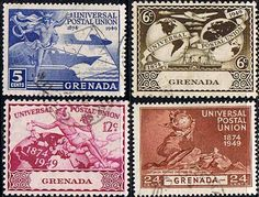 Grenada Stamps 1949 Universal Postal Union Set Fine Used SG 168-171 Scott 147 - 150 Other UPU Stamps HERE Take a LOOK