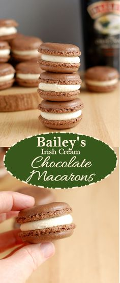 French macarons with an Irish Cream filling. It's a international match made in heaven. Get a recipe and links to detailed how-to photos for macaron success.