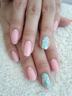 Pink & Mint Floral Nails