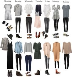 outfits for every day of the week / capsule wardrobe