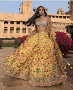 Indian wear for women India. Designer lehenga chunni with embroidery. #anitadogre #anitadogredesigns #bridalwear #indianwearforwomen #indianwomenswear #traditionalclothesofindia Pink Bridal Lehenga, Indian Bridal Lehenga, Yellow Lehenga, Sangeet Outfit, Mehendi Outfits, Indian Wedding Outfits, Indian Outfits, Indian Clothes, Lehenga Chunni