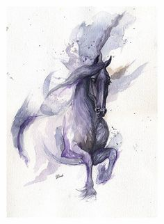 Fresian horse original watercolor painting Always wanted horses, that's what I get for being a city girl.