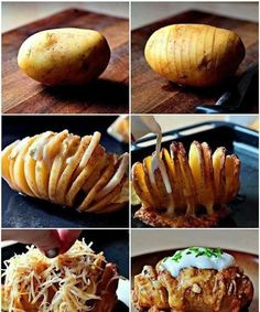 Creative and delicious ♥ Scalloped Hasselback Potatoes I Love Food, Good Food, Yummy Food, Baked Potato Slices, Baked Potato Fillings, Hasselback Potatoes, Sliced Potatoes, Cheesy Potatoes, Stuffed Potatoes