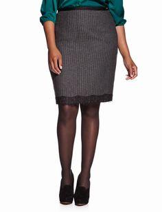 White pin strip on grey herringbone lace trim herringbone pencil skirt