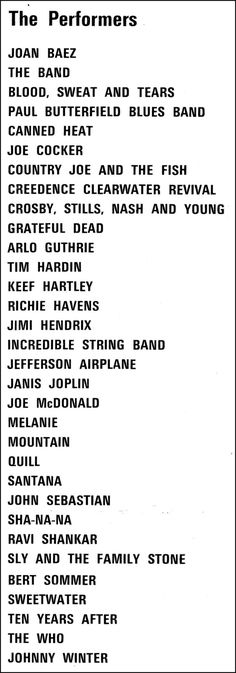 vintage everyday: Woodstock - August 15-18, 1969 List of Performers