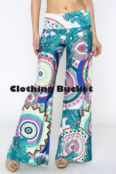 Teal and white geometric tribal print wide leg palazzo pants
