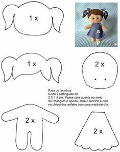 Felt girl doll mold - felt doll pattern by melisa Stoffpuppen Felt Doll Patterns, Felt Crafts Patterns, Plushie Patterns, Sock Dolls, Felt Dolls, Doll Crafts, Diy Doll, Homemade Dolls, Baby Mobile