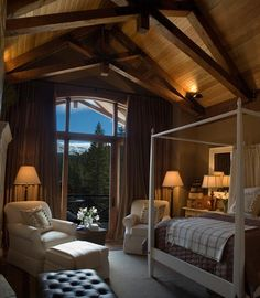 Room With a View The 2007 Dream Home master bedroom offers an open sitting area inside and out, providing striking views of the Rocky Mounta...