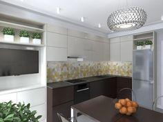 aménagement petite cuisine moderne: dosseret en carrelage à 3D