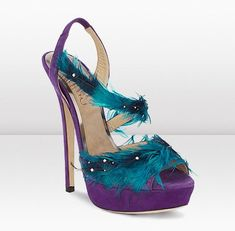 """$1995. - """"Exotic Feathered Sandals"""" - Purple & Turquoise shoes by Jimmy Choo"""