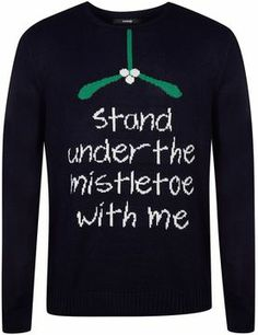 Mistletoe Slogan Christmas Jumper on shopstyle.co.uk