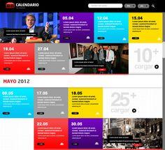 Calendario de Eventos by Fernanda Pacheco, via Behance event calendar colorful web ui