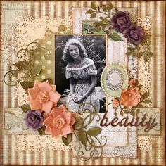 Beauty ~ Feminine heritage page with lovely layering and punch work edges.