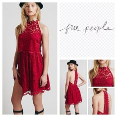 """Free People Lost In A Dream Lace Mini Dress. NWOT. Free People Lost In A Dream Twofer Lace Mini Dress, 65% cotton, 35% nylon, washable, 14.5"""" armpit to armpit (29"""" all around) 27"""" waist, 36.5"""" length, lace high neck halter mini with racerback, ruffled skirt, sheer flyaway bodice, single button closure at nape, hidden zip back zip closure at skirt, scalloped hemline, fully lined, measurements are approx.  New without tag, never worn, extra button attached.  No Trades... Free People Dresses…"""