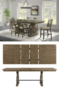 This counter height dining table will be an excellent centerpiece in your dining room or entertainment area. The table is supported by an elegantly designed pedestal accented with reverse scroll details. With 6 slat back counter chairs to make a complete set, this set makes perfect look for your space. The Stone Grey Counter 7PC Set by Elements International at Great American Home Store in the Memphis,, TN, Southaven, MS area. #shopgahs #diningroom #diningtable #counterheight #diningsets