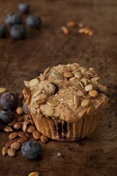 Whole Wheat blueberry Muffins with Sugared Seed Streusels