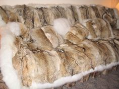 coyote fur blanket & pillows