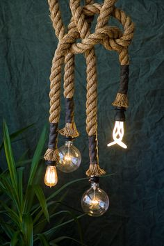 "Manila Rope lights (1.5"" diameter). $395.00, via Etsy. - A little pricey but totally awesome!"