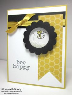 Stamp With Sandy: Hello Honey Bee Shaker Card, Sweet Stuff Stamp Set, Stampin' Up Bee Cards, Cards Diy, Shaker Cards, Butterfly Cards, Scrapbook Cards, Scrapbooking, Card Making Inspiration, Card Sketches, Copics