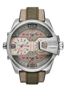 19230eac5efb Diesel Mega chief dz7375 uber green leather strap mens watch Diesel Watches  For Men