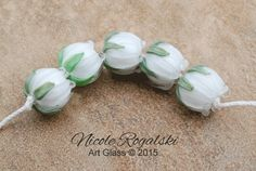 White Lily of the Valley set - Handmade Glass Bead