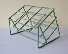 Green Coated Metal Rack // Sturdy Tilted Lab Rack for Display & Storage // Mid Century Green Unusual Angled Design from Scientific Lab