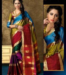 Buy Multicolour Plain cotton saree with blouse south-indian-saree online