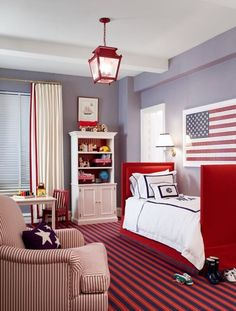 Design byAshley Whittaker  Red trimmed curtains . . .