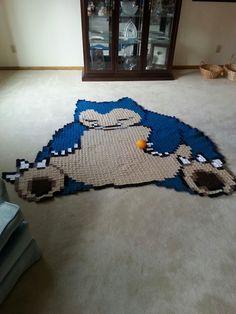 Epic Snorlax Blanket by melyntenshi via Nerdy Crochet Stuff- what a talent Crochet Crafts, Crochet Projects, Sewing Projects, Crochet Baby, Knit Crochet, Nerd Crafts, Diy Crafts, Crochet Square Blanket, Crochet Pokemon