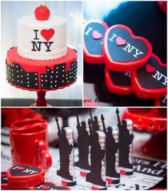 New York City Bridal Shower via Kara's Party Ideas KarasPartyIdeas.com #iloveny #iheartny #newyorkcity Cake, decor, invitation, supplies, an...
