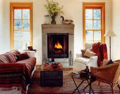 Small living room design ideas 2018 - Home Decoration Fall Fireplace Mantel, Rumford Fireplace, Modern Fireplace, Fireplace Design, Small Fireplace, Concrete Fireplace, Fireplaces, Fireplace Windows, Classic Fireplace