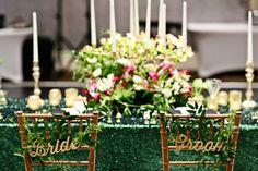 Bride & Groom Gold Chair Signs I The NotWedding Atlanta 2014  - Melissa Prosser Photography http://ruffledblog.com/notwedding-atlanta/