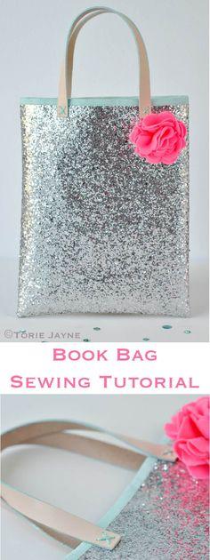 Free book bag sewing tutorial by Torie Jayne