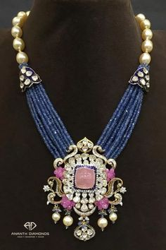 Polki diamond haram from Ananth Diamonds, artistically layered in blue sapphire beads, studded with pink tourmaline surrounded by diamonds Bijoux Design, Gold Jewellery Design, Bead Jewellery, Schmuck Design, Pendant Jewelry, Gold Jewelry, Beaded Jewelry, Jewelery, Tiffany Jewelry