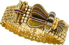 Jewelry:Bracelets, Ruby, Diamond, Enamel, Platinum-Topped Gold Bracelet. Retro