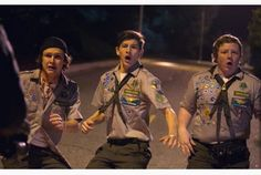 "HODELETE HFA Logan Miller, Tye Sheridan and Joey Morgan in ""Scouts Guide to the Zombie Apocalypse."""