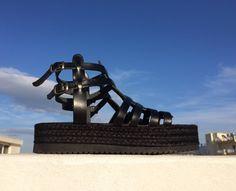 Black leather Greek sandals/ gladiator/ platform/ flatform/ handmade/ total black shoes/woman summer shoes by aeliasandals on Etsy