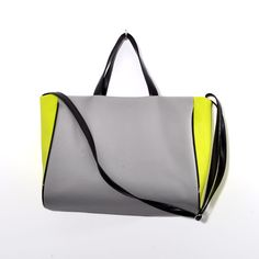 Great gift for sister. Simple Shoulder Bag – BIG HANDBAG TOTE SOPHIE GRAY LIME BLACK – a unique product by torebkinext via en.DaWanda.com