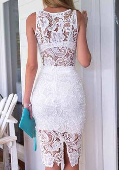 Back view of white lace two piece dress Casual Dress Outfits, Casual Summer Dresses, Trendy Dresses, Modest Dresses, Tight Dresses, Fashion Dresses, Formal Dresses, Lace Sheath Dress, Lace Dress Black