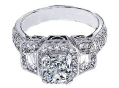 Radiant Cut Diamond Vintage Style Engagement Ring Setting with Trapezoids  - ES240RA