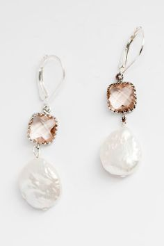 Blush & Freshwater Pearl Drop Bridal Earrings from the New Bloom Collection by J'Adorn Designs handcrafted jewelry #alternativebridal #freshwaterpearls #jadornyourlove Pearl Earrings Wedding, Gold Hoop Earrings, Bridal Earrings, Wedding Jewelry, Stud Earrings, Luxe Wedding, Wedding Ceremony, Jewelry Shop, Custom Jewelry