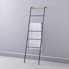This versatile ladder hanger is perfect for bath linens + more. Ladder Hanger, Ladder Towel Racks, Towel Rack Pool, Towel Rack Bathroom, Towel Hanger, Pool Towels, Ladder Decor, Bathroom Ladder, Master Bathroom