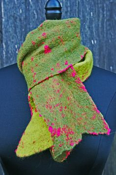 "Nuno Felted Scarf, Felted Scarf, Wearable Art, Merino Wool, Silk, Unisex, ""The Grinch Stole Christmas"", Gifts under 100 dollars, Green, Red"