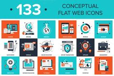 Great Advanced Flat Web Ions CreativeWork247 - Fonts, Graphics, Themes, Templates...