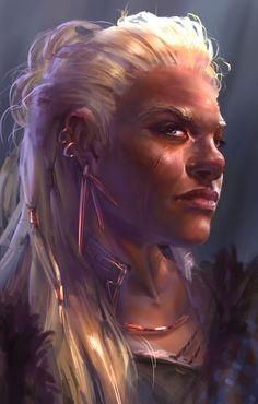 Female dwarf concept art [+ drawing GIF], Lily Abdullina on ArtStation at www. Fantasy Races, High Fantasy, Fantasy Warrior, Dungeons And Dragons Characters, Dnd Characters, Fantasy Characters, Fantasy Dwarf, Fantasy Rpg, Fantasy Portraits