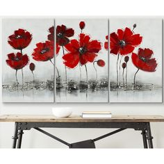 $136 -Safavieh Works of Art Red Poppy 3-piece Canvas Art - Overstock™ Shopping - Top Rated Safavieh Canvas
