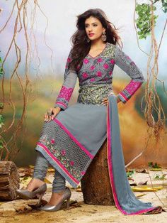 Grey Georgette Suit With Embroidery Work www.saree.com