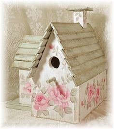 Shabby Cottage - cute birdhouse with shabby roses