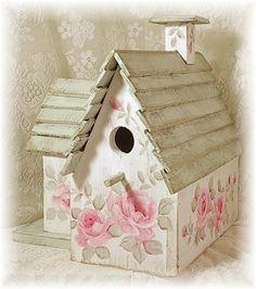 Shabby Cottage - cute birdhouse with shabby roses