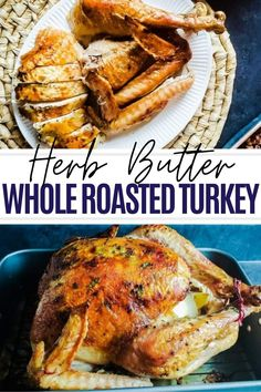 This Herb Roasted Turkey is crazy moist and flavorful. The perfect main course for any Thanksgiving table or holiday gathering. The turkey is coated in herb butter, stuffed with lemons and onions are cooled upside down. Don't forget the finishing touch: gravy! The Classic Pan Gravy is simple, fast and the perfect compliment to the turkey. Turkey Recipes, Meat Recipes, Healthy Dinner Recipes, Turkey Dishes, Drink Recipes, Fall Recipes, Delicious Recipes, Slow Roasted Turkey, Baked Turkey